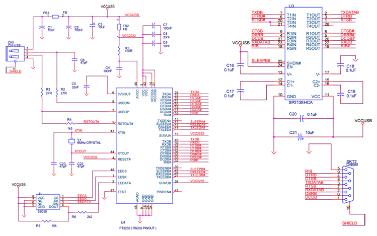USB to serial adapter circuit